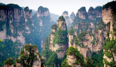 Chinese mountain cliff top forest trees 1920x1200 384x220 - کوهستان تیان‌‌مِن ، قطعه ای از بهشت در چین | china