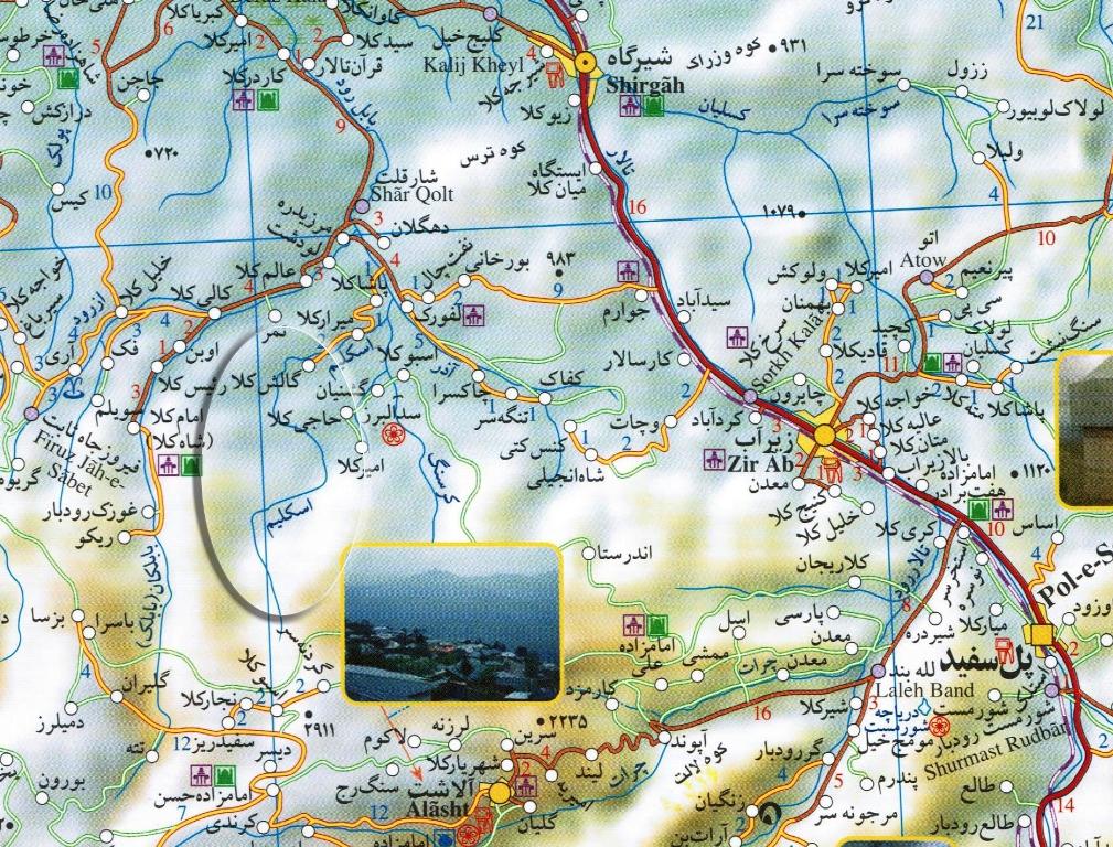 نقشه حدودی آبشار اسکلیم رود